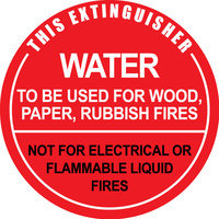 Water Fire Extinguisher ID Sign PVC Plastic 190 x 190mm