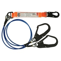 LINQ Twin Shock Absorbing Lanyard Wire Core 2m w/ Scaffold Hooks